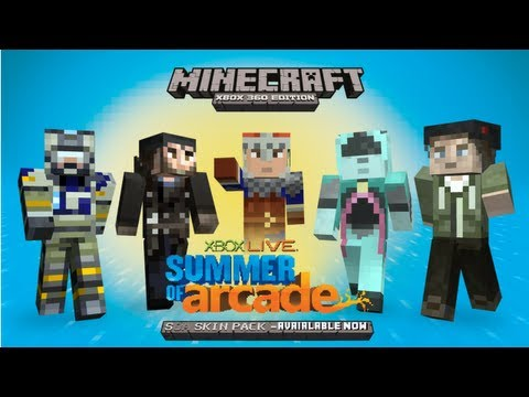 Free Summer of Arcade Skin Pack for Minecraft XBOX 360 Edition and Montage of Skins