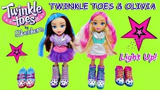 TWINKLE TOES by Skechers | Twinkle Toes & Olivia DOLLS + 2 Pairs of Light-Up Color Change Doll Shoes
