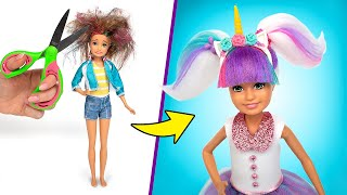 Barbie Doll L.O.L. Makeover! How To Make L.O.L. Unicorn Outfit And Hair🦄💇🏼‍♀️