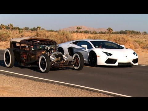 Rat Rod vs Lamborghini Aventador! Roadki