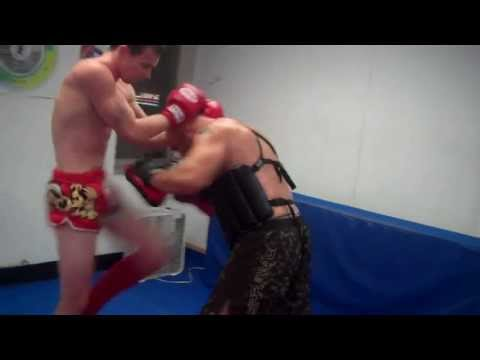Muay Thai Focus Mitt training-Single Power Shots of punch,knee and elbow Image 1