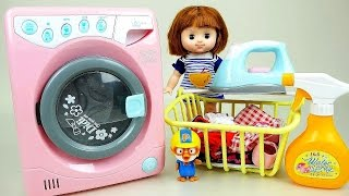 Washing machine with Baby Doll and Play Doh Ice cream maker toys