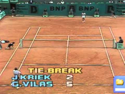 Johan Kriek beats Guillermo Vilas - Roland Garros 1986 Quarter Final / Set 2 & 3