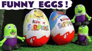 Funny Funlings Kinder Surprise Egg Hunt on Thomas The Tank Engine - Fun kids toy story TT4U
