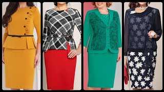 Women Elegant Two Piece Work Wear Pencil Bodycon Dresses With Jackets For Plus Size Women