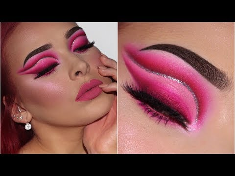 Bright Pink Glitter Cut Crease   Valentine's Day Inspired Makeup Tutorial