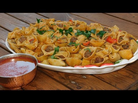 Обед из начинённых макарон. Вкусно и просто)