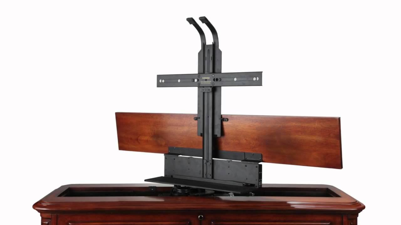 crystal pointe brown 360 swivel end of bed tv lift cabinet. Black Bedroom Furniture Sets. Home Design Ideas