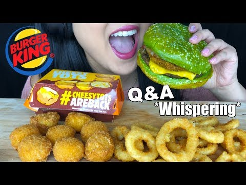 ASMR BURGER KING NIGHTMARE BURGER CHEESY TOTS + ONION RINGS (Eating Sounds) Q&A Whispering ASMR Phan thumbnail