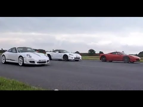 911 GT3 RS 4.0 VS 458 Italia VS Corvette ZR1 drag race (Motorsport)