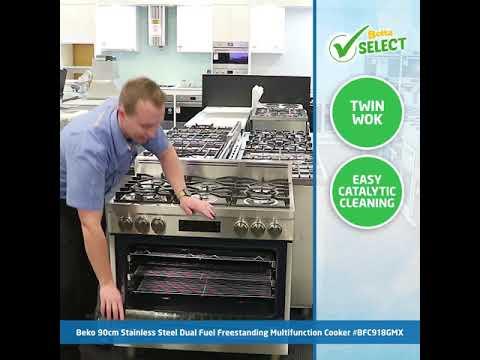 Beko 90cm Stainless Steel Dual Fuel Freestanding Multifunction Cooker