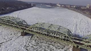 The frozen Delaware River at Morrisville/Trenton