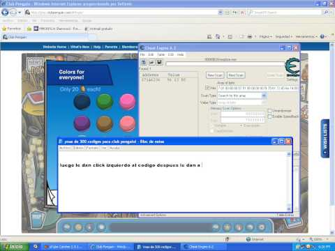 como poner codigos con cheat engine club penguin