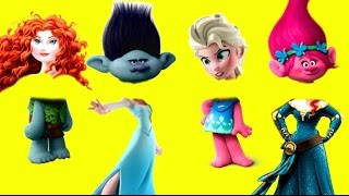 Dreamworks Trolls Movie Branch is Sad, with Disney Princess Elsa and Wrong Heads!