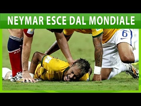 Brasile Colombia 2-1 Neymar infortunio esce dal Mondiale 2014 entra in Ospedale