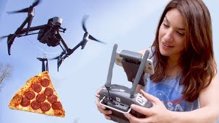 She Delivered ????Pizza with a Drone!