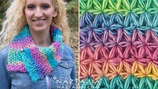 DIY Tutorial - How to Crochet Oh My Stars Scarf - Puffed Flower Star Stitch Bufanda