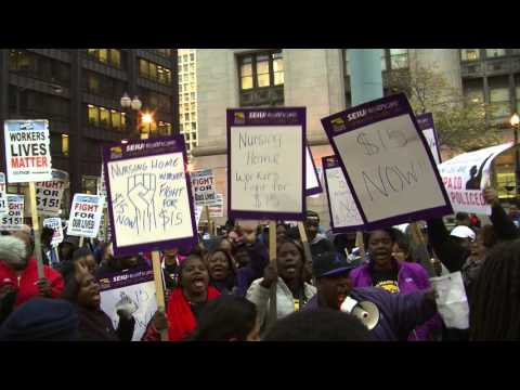 Fast food workers strike for $15 an hour