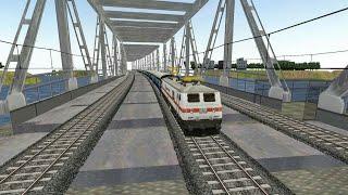 Indian Train Crossing Large Vijayawada Bridge in Indian Train Simulator - Indian Railways