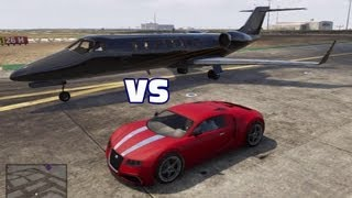 Adder (Bugatti Veyron) vs. Jet Which is Faster? GTA V 5 Video Game Genius