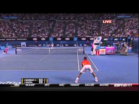Australian Open 2010 - Andy Murray reacts to Nadal taking his time to challenge