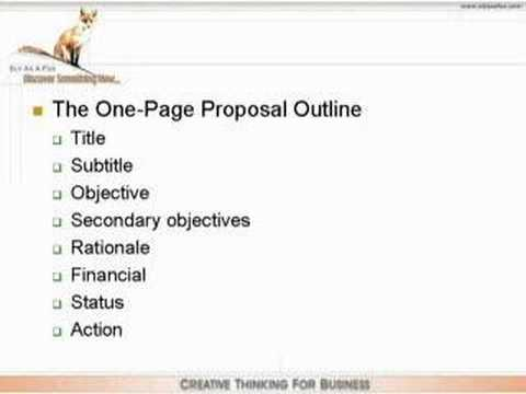 One Page Proposal Youtube