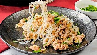 Keto Shirataki Spaghetti Recipe with Tuna - Light, Zesty & Easy to Make (1g Net Carbs)