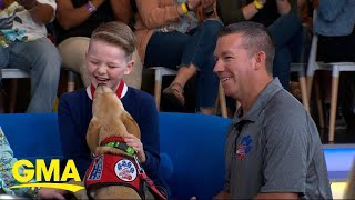 Boy with Type 1 diabetes surprised with specially trained dog on 'GMA' | GMA