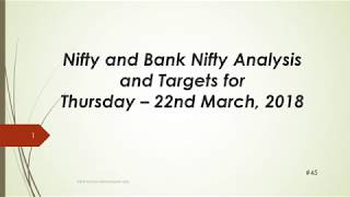 Download video Nifty and BankNifty Trading Levels for 22 Mar 2018