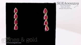 6MM x 4MM Ruby Teardrop Solid 14K Gold Dangle Earrings   SGEA000219