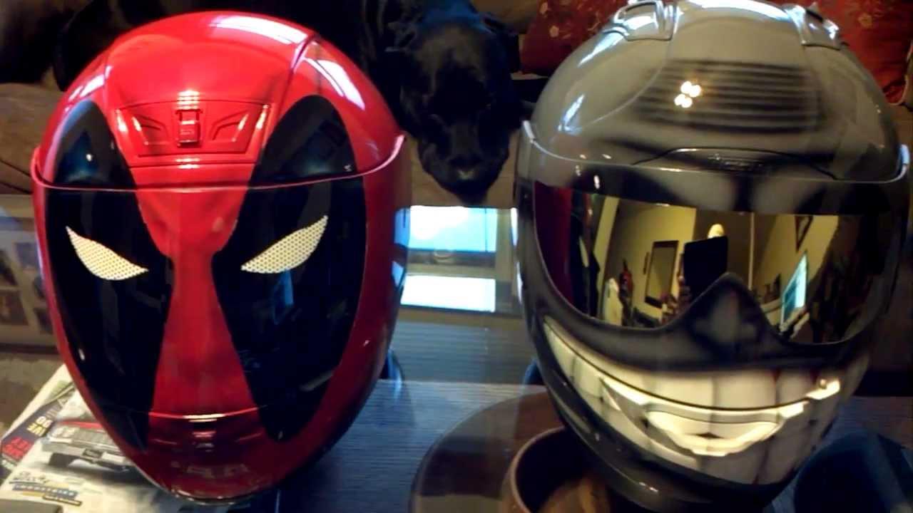 Deadpool And Smiling Face Helmet Gold Shades Custom