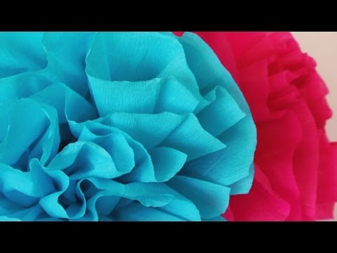 "Manualidades - Flor de papel crepe -""Superfacil"" - Paper Flower"