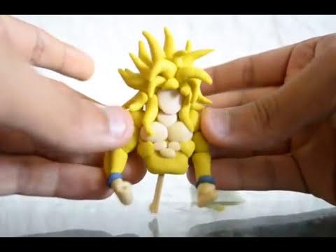 como hacer a Goku SSJ Dios de plastilina