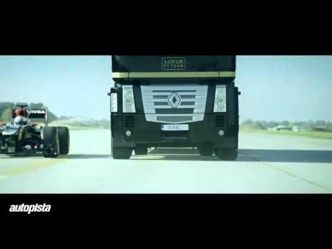 Así salta un camión por encima de un Fórmula 1