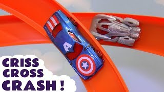 Hot Wheels Criss Cross Crash Race with Disney Marvel Avengers Superheroes and DC universe Batman