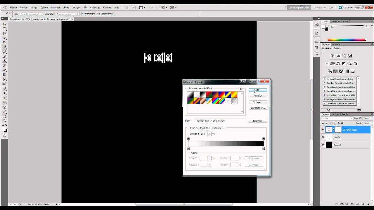 Comment faire un effet reflet sur photoshop youtube for Effet miroir photoshop
