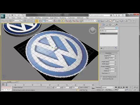 3ds Max 2012 Diseño de logotipos -01- Logo volkswagen parte 01.
