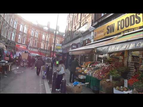 Walking through Brixton Street Market, South London on market day & non market day.