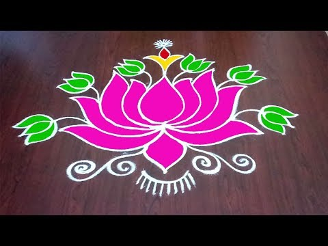 Colourful Lotus Design || Thamara Puvvu Muggulu || New Thamarai Kolam || Rangoli & Fashion World