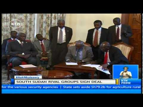 Retired President Moi witness signing of peace agreement between feuding groups in South Sudan