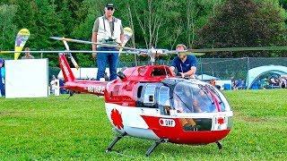 BIG RC BO-105 SCALE MODEL TURBINE HELICOPTER FLIGHT DEMONSTRATION
