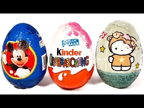 Surprise Eggs Mickey Mouse Hello Kitty Huevo Kinder Sorpresa By Unboxingsurpriseegg video