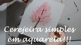 cerejeira simples em aquarela