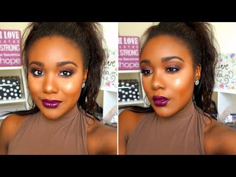 Dramatic Summer Night Makeup Tutorial I Flawless Foundation Routine for Black Women (Dark Skin) 2016
