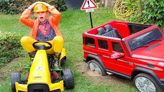 Ali Ride on Power Wheel Car Stuck in The Mud, Funny video for Kids