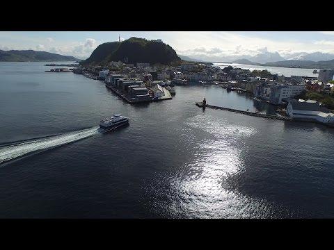 DJI Phantom 3 flying over Ålesund Norway.