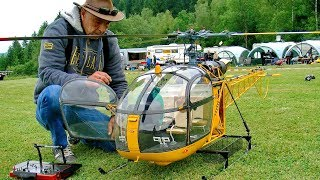 HUGE XXL RC TURBINE MODEL HELICOPTER ALOUETTE II SA318 C DEMO FLIGHT VARIO TEAMPILOT FRANCIS PADUWAT