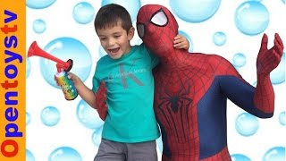 SPIDERMAN FOR KIDS AND TOYS PLAYING WITH BUBBLES AND KENDO! OPENTOYSTV THE KIDS CHANNEL!