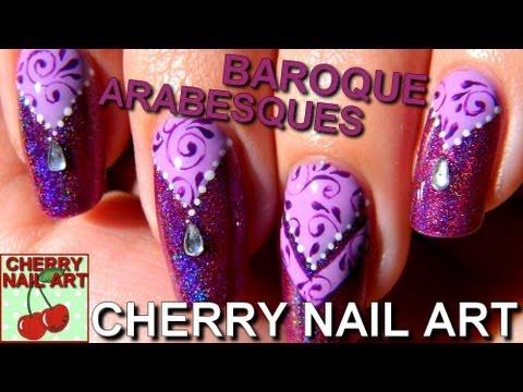 Nail art tutoriel - baroque oriental sur vernis holographique (HD)