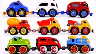 Learn Colors with Construction Vehicles Train and Emergency Toy Cars for Children